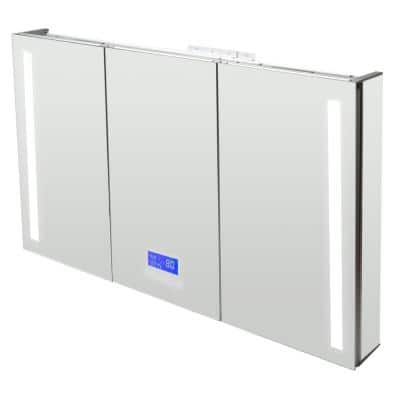 42 in. W x 28 in. H Frameless Recessed or Surface Mount Tri-View Medicine Cabinet with LED Light and Bluetooth