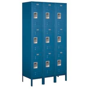 53000 Series 45 in. W x 78 in. H x 18 in. D Triple Tier Extra Wide Metal Locker Unassembled in Blue