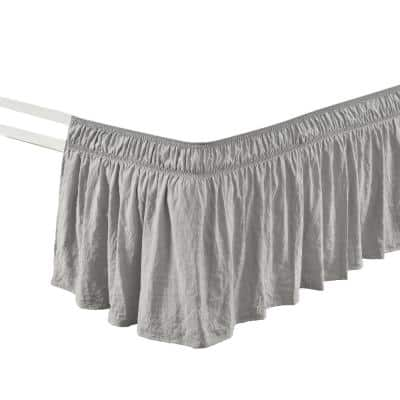 Ruched 20 in. Drop Length Ruffle Elastic Easy Wrap Around Light Gray Single Queen/King/Cal King Bed Skirt