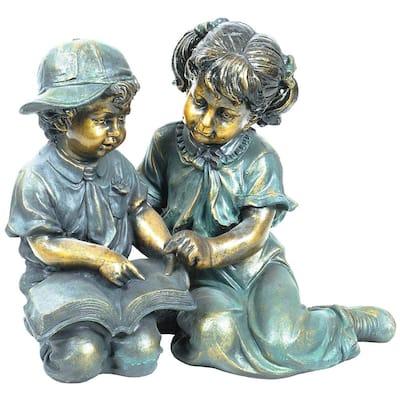 2-Piece Indoor/Outdoor Girl and Boy Reading Statue Set Yard Art Decoration