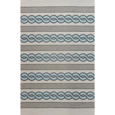 Ivory/Spa Cable Knit 2 ft. x 3 ft. Area Rug