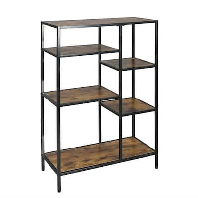 43.31 in. x 27.56 in. x 27.7 in. Bronze MDF Board Metal Frame 4-Shelf Etagere Bookcase with Open Back