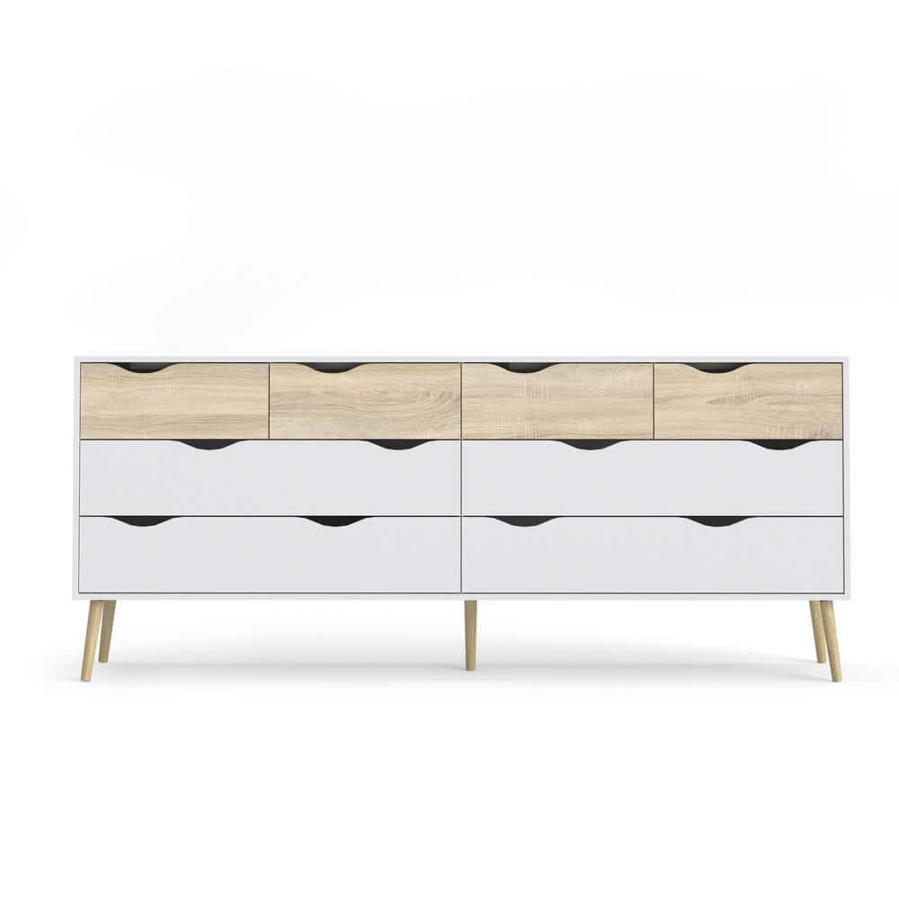 Tvilum Diana 8 Drawer White Oak Structure Dresser 7545549ak The Home Depot