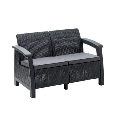 All-Weather Plastic Patio Loveseat Bahamas with Gray Cushion