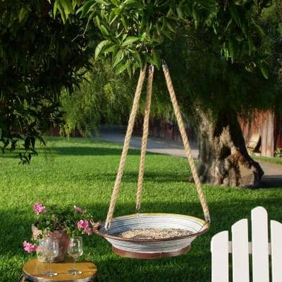 30 in. Tall Hanging Metal Tray Bird Feeder with Rope, Multicolor