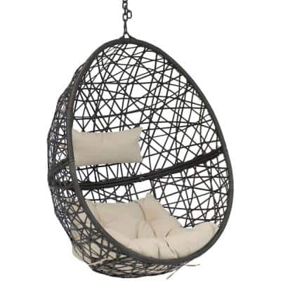 Caroline Resin Wicker Outdoor Hanging Egg Patio Lounge Chair with Beige Cushions