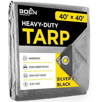 40 ft. W x 40 ft. L Silver/Black Poly Heavy Duty Tarp 14 in. x 14 in. Weave
