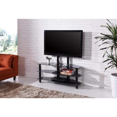 43 in. Black Glass TV Stand Fits TVs Up to 55 in. with Cable Management