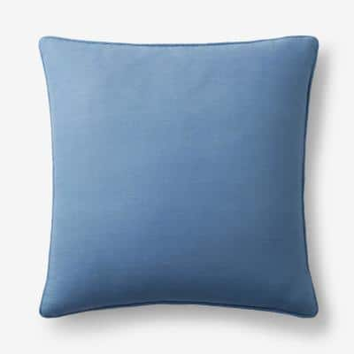 Linen Denim Blue Solid Machine Washable 26 in. x 26 in. Throw Pillow Cover