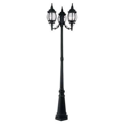 Providence 3-Light Outdoor Black Incandescent Post Light