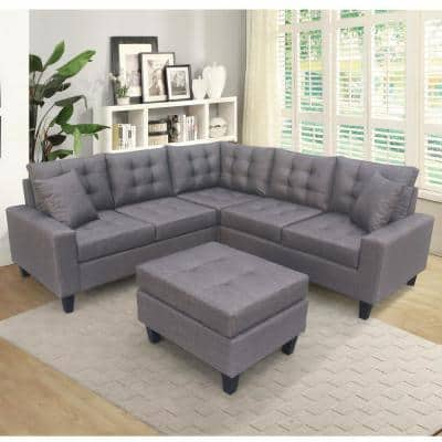 3-Piece Gray Upholstered 5 Seats Sectional Sofa with Ottoman