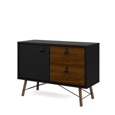 Ry Black Matte/Walnut 1-Door, 2 Drawer Sideboard