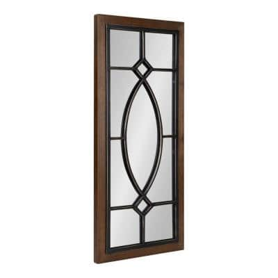 Bakersfield 30 in. x 13 in. Classic Rectangle Framed Rustic Brown Wall Accent Mirror