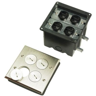 Pass & Seymour Slater Nickel 2-Gang Floor Box with Tamper-Resistant Outlets for Wood Sub-Floors
