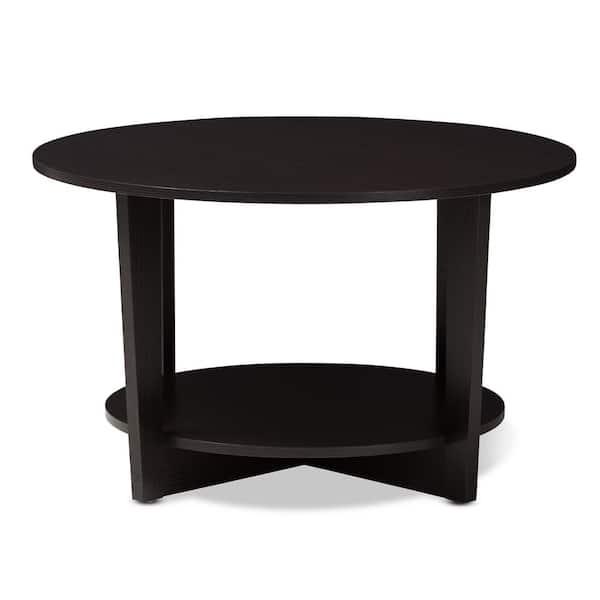Baxton Studio Belina 32 In Wenge Dark Brown Medium Round Wood Coffee Table With Shelf 146 8276 Hd The Home Depot