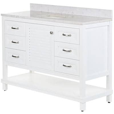 Eastbourne 49 in. W x 19 in. D Bathroom Vanity in White with Stone Effects Vanity Top in Pulsar with White Sink