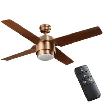 Dinton 52 in. White Color Changing Integrated LED Matte Brass Outdoor Ceiling Fan with Light Kit and Remote Control
