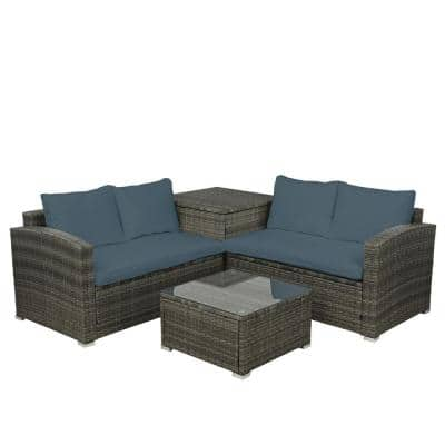 4-Pieces Cushioned PE Rattan Wicker Outdoor Sectional Sofa Set Garden Patio Furniture Set with Gray Cushion