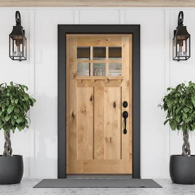 36 in. x 80 in. Craftsman 2 Panel 6-Lite Clear Low-E /Dentil Shelf Right-Hand Unfinished Wood Alder Prehung Front Door