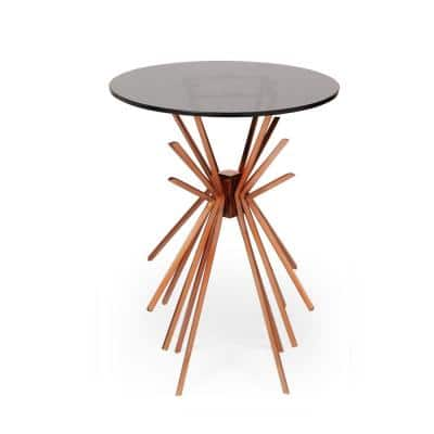 Helios 17.75 in. Black and Copper with Tempered Glass Side Table