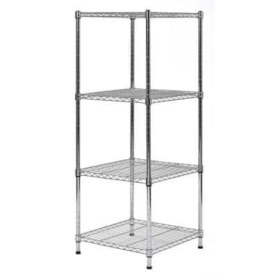 Chrome 4-Tier Light Duty Steel Garage Storage Shelving (18 in. W x 47 in. H x 18 in. D)