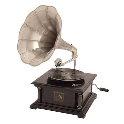 Black Mango Wood Vintage Gramophone