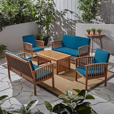 Carolina Brown Patina 5-Piece Wood Conversation Seating Set with Dark Teal Cushions