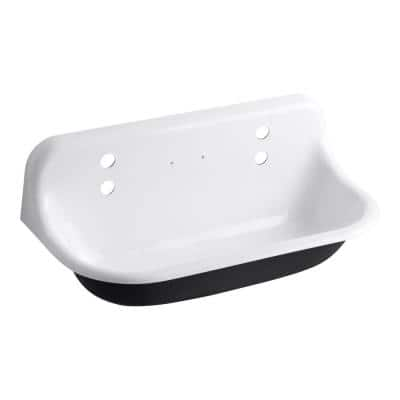 Brockway 36 in. Cast Iron Wall Mount Utility, Service, Laundry Sink in White
