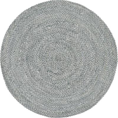 Braided Chindi Gray 8 ft. x 8 ft. Round Area Rug