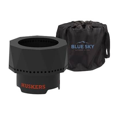 The Ridge NCAA 15.7 in. x 12.5 in. Round Steel Wood Pellet Portable Fire Pit -Nebraska Cornhuskers