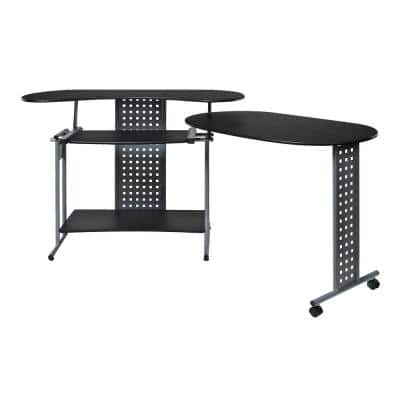 47 in. L-Shaped Black/Silver Computer Desk with Keyboard Tray