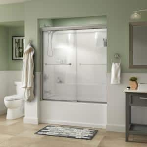 Everly 60 in. x 58-1/8 in. Traditional Semi-Frameless Sliding Bathtub Door in Nickel and 1/4 in. (6mm) Niebla Glass
