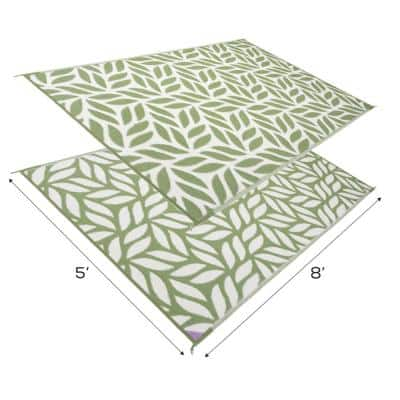Abstract Leaf Reversible Mat Green/White 5' x 8' Virgin Polypropylene Mat with UV Protection