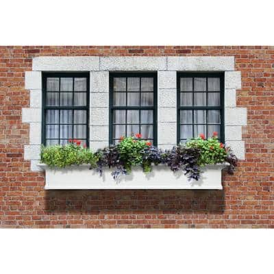 72 in. x 12 in. White Plastic Self-Watering Window Box