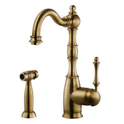 Regal Traditional Single-Handle Standard Kitchen Faucet with Sidespray and CeraDox Technology in Antique Brass