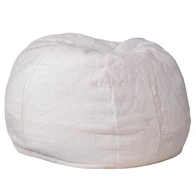 White Furry Fabric Bean Bag Chair