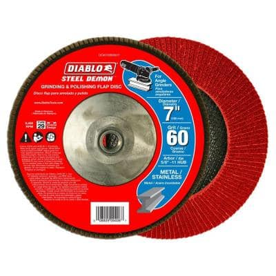7 in. 60-Grit Steel Demon Grinding and Polishing Flap Disc with 5/8 in. -11 HUB and Type 29 Conical Design