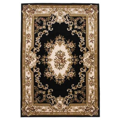 Traditional Morrocan Black/Ivory 8 ft. x 11 ft. Area Rug