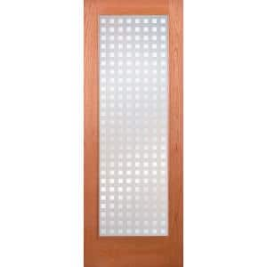 24 in. x 80 in. Multicube Woodgrain 1 Lite Unfinished Cherry Interior Door Slab