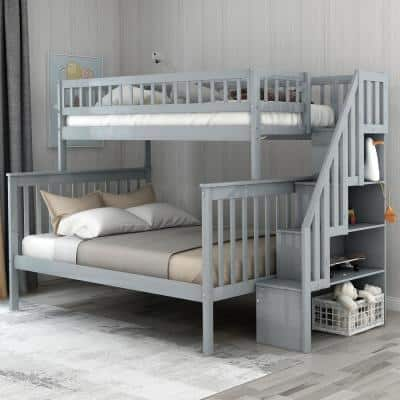Gray Twin Over Full Stairway Bunk Bed with Storage and and Stairs for Kids