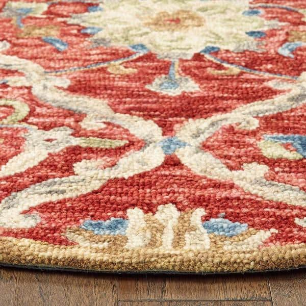 Lr Home Trendy Red 4 Ft X 4 Ft Round Trellis Floral Wool Area Rug Dazzl54070red40rd The Home Depot