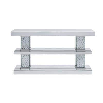 Nysa 63 in. Clear Standard Rectangle Mirrored Console Table with Shelves