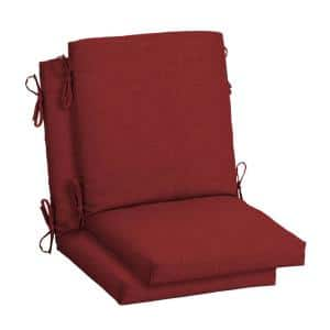 18 in. x 16.5 in. Mid Back Outdoor Dining Chair Cushion in Ruby Leala Texture (2-Pack)