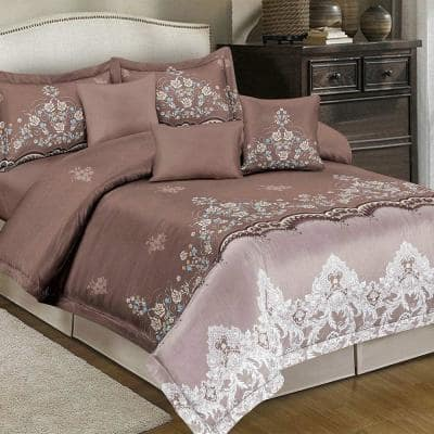 2-Pieces Coffee 100% Microfiber Polyester Twin Comforter Set with 1-Pillow Shams
