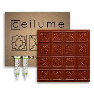Lafayette 2 ft. x 2 ft. Glue Up Vinyl Ceiling Tile and Backsplash Kit in Faux Wood-Cherry (21 sq. ft./case)