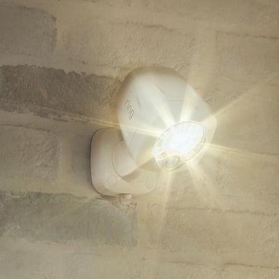White Smart Lighting Motion Activated Outdoor Integrated LED Spot Light Battery w/ Smart Lighting Bridge White (2-Pack)