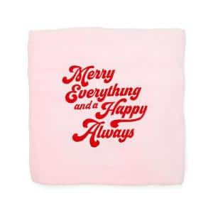 Pink Merry Blanket 50 in. x 60 in. Holiday Throw Blanket Christmas Decoration