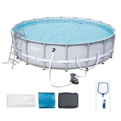 18 ft. W x 48 in. D Steel Pro Framed Round Above Ground Pool Set with Pump