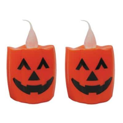 5.5 in. LED Battery Operated Orange Candle - Pumpkin (Set of 2)
