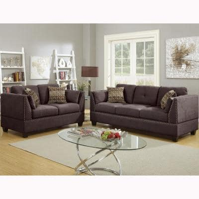 Abruzzo 2-Piece Dark Brown Velvet Sofa Set